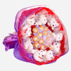 flowers and chocolate gifts, cartoon flowers, soft plush toys