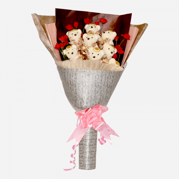 Cartoon Flowers, soft plush toys, flowers and chocolate gifts